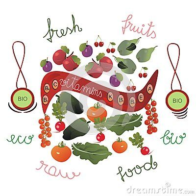 #Fruits and #vegetables separated by a red ribbon. The red ribbon indicates the main #vitamins in fruits and vegetables: A, E, K, C, B1, B2, B3 and B6. Additionally: two #bio #emblems and words-fresh, fruits, eco, bio, #raw, #food.