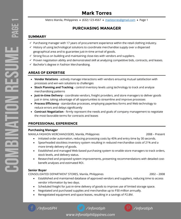 103 best Resumes \ CV images on Pinterest Resume templates, Cv - sample resume of purchase manager