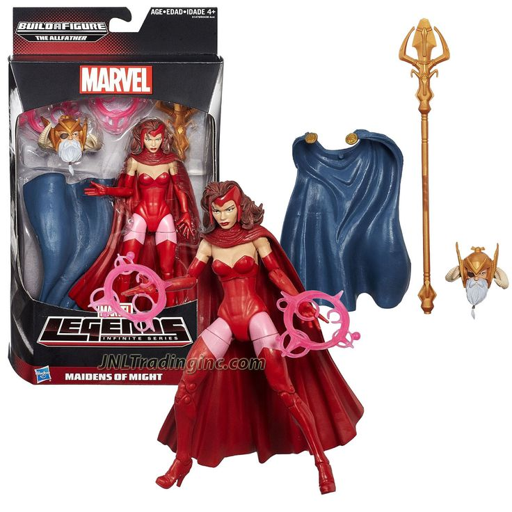 """Marvel Legends Infinite Series Build a Figure The Allfather 6"""" Tall Figure - MAIDENS OF MIGHT SCARLET WITCH with 2 Energy Flame Rings Plus The Allfather's Head, Cape & Trident Staff"""