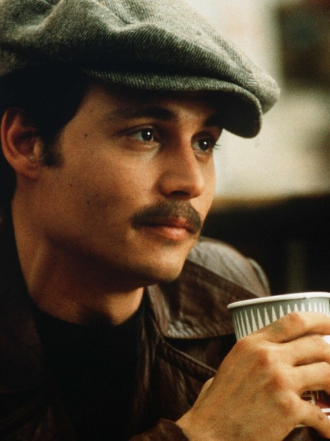 Donnie Brasco  Sweet 'stache! The actor grew some impressive upper-lip fuzz for his role as FBI agent Joe Pistone (who poses as jewel thief Donnie Brasco) in this 1997 mafia flick.