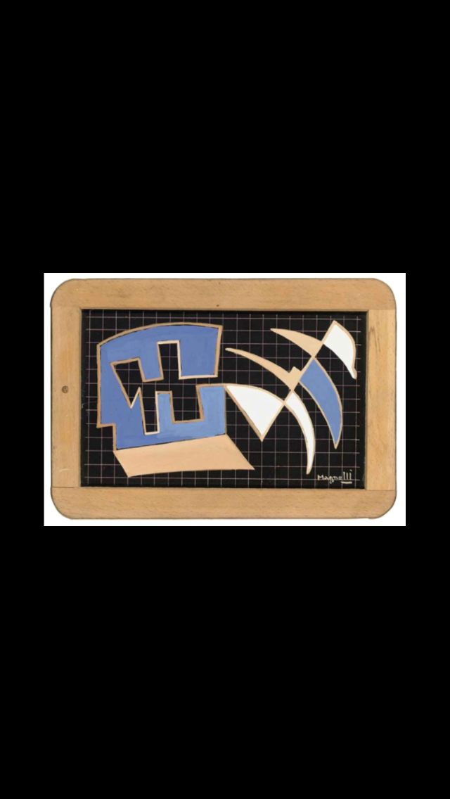 "Alberto Magnelli - "" Ardoise No. 74 "", c. 1942 - Gouache on slate - 13,3 x 21,1 cm"