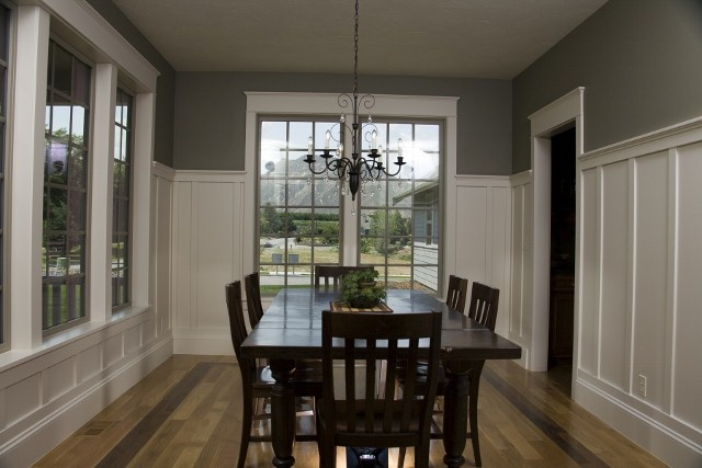 Tall Wainscoting For Dining Room With Dark Gray Upper Walls Coloring