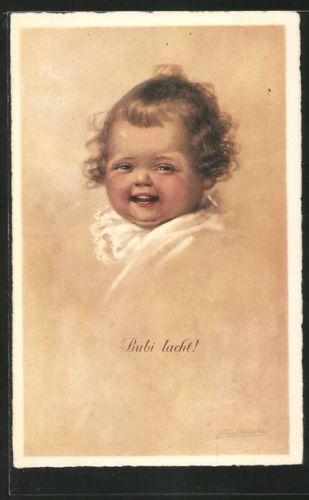 tolle-Kuenstler-AK-Wally-Fialkowska-Bubi-lacht-lachendes-Kleinkind-Portrait