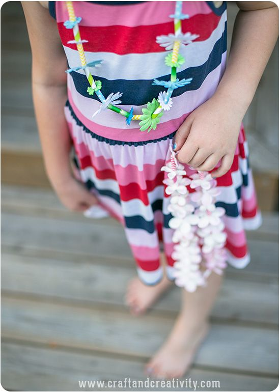 Hawaiian Paper Leis - by Craft & Creativity...theses are super cute for a little kids party...or a bachelorette party perhaps??
