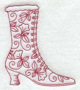 Victorian Laced Boot (Redwork)