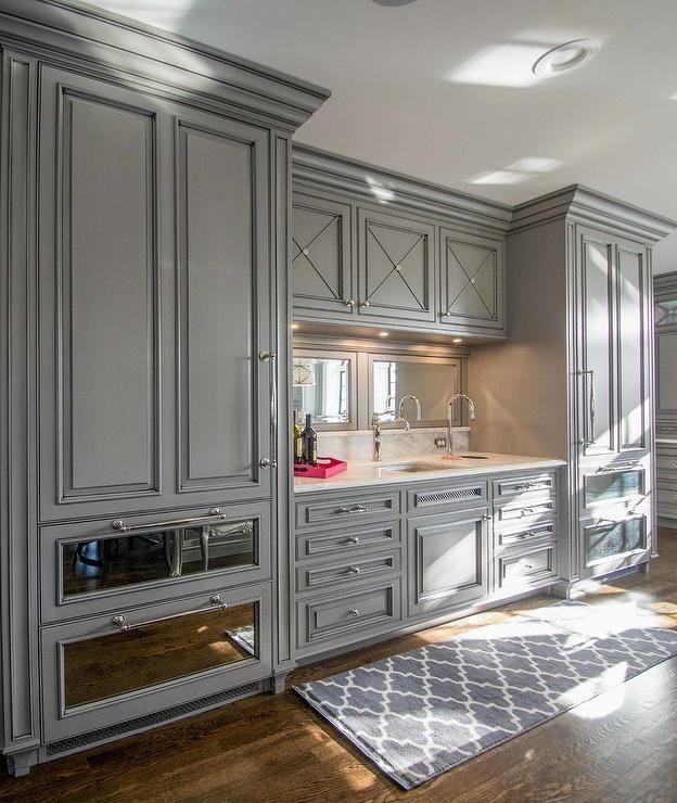 Amazing Wet Bar Boasts Gray Raised Panel Cabinets Paired