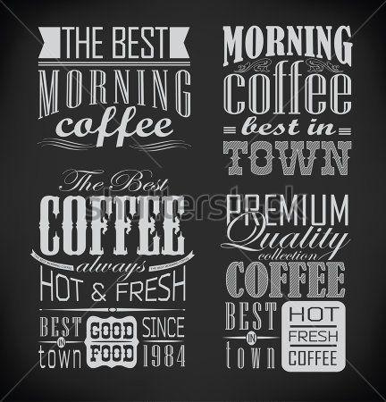 レトロなタイポグラフィ、コーヒー ショップ、カフェ、メニュー デザイン要素、黒板にチョークで描画レストラン要素                                                                                                                                                      もっと見る