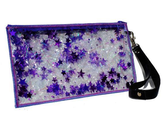 sparkle wrist strap | Iridescent Clutch Bag, Wristlet in Starburst
