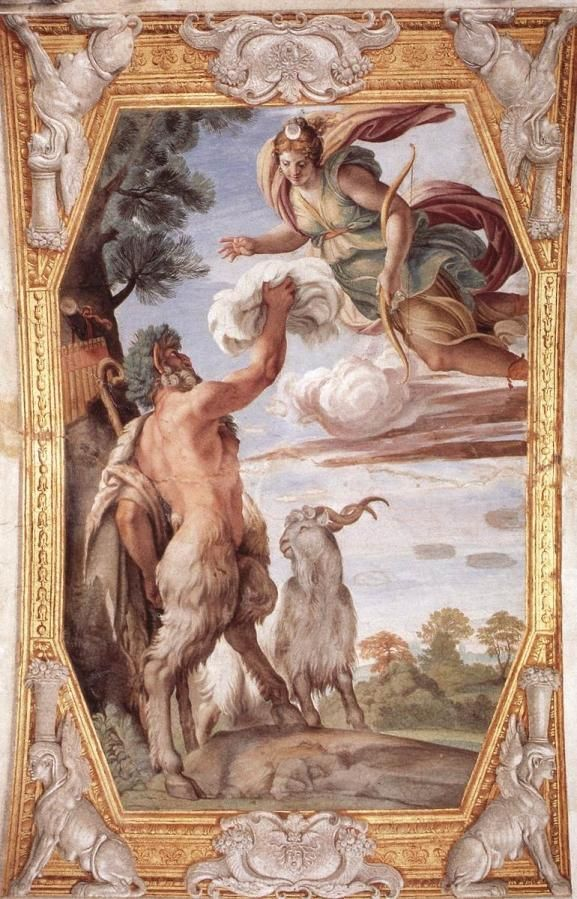Annibale Carracci. Frescos del Palacio Farnese: El fauno y Diana.