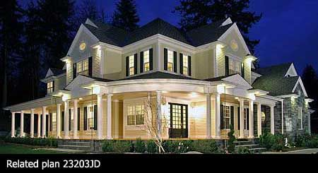 New traditional home with wrap-around porch...so pretty.