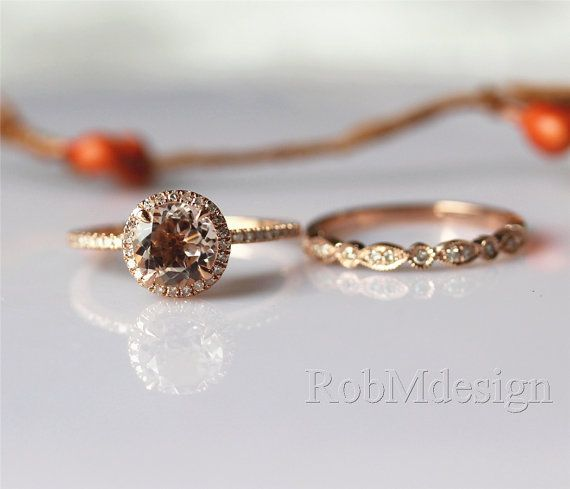 Hey, I found this really awesome Etsy listing at https://www.etsy.com/listing/221426350/morganite-engagement-ring-set-7mm-round
