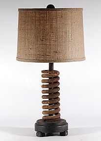 Vintage Rusted Iron Coil Unique Upcycled Table Lamp
