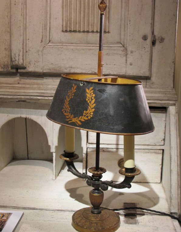 A French Builotte lamp, love this on the 'dust' desk.