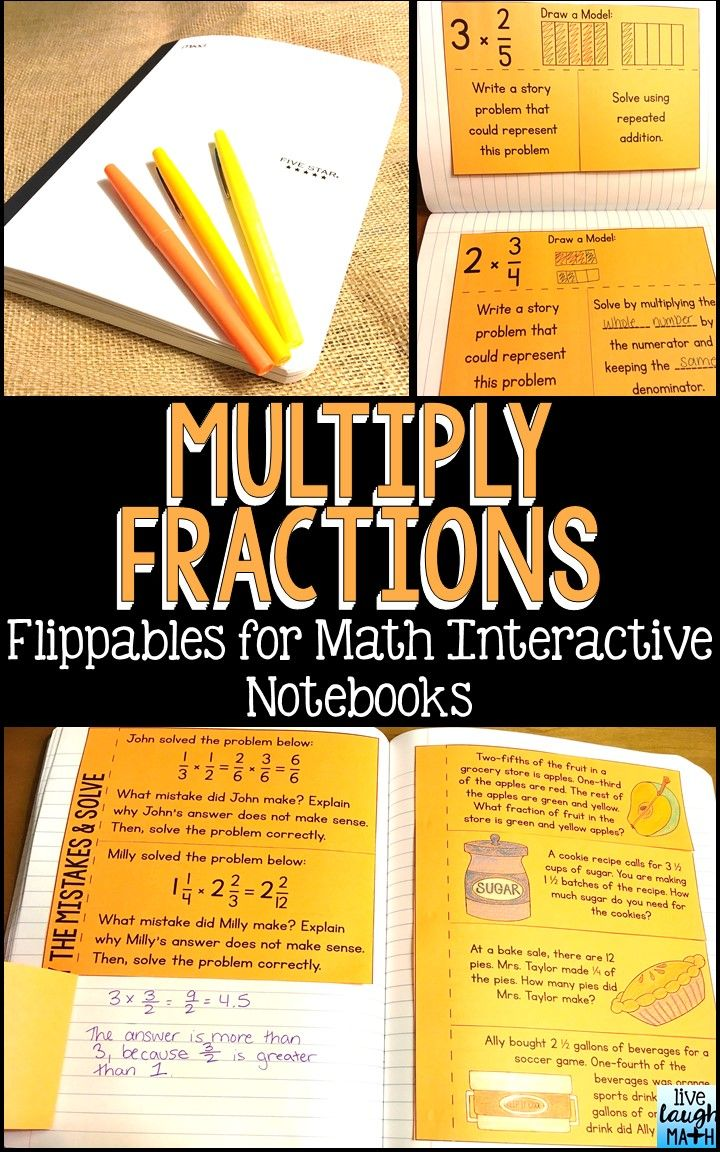 Multiply Fractions Math Interactive Notebook: 13 flippables and foldables to teach and practice multiplying fractions, multiplying mixed numbers, multiplication as scaling, finding area with fractional side lengths, and multiplying fractions word problems. Includes models, word problems, and error analysis!