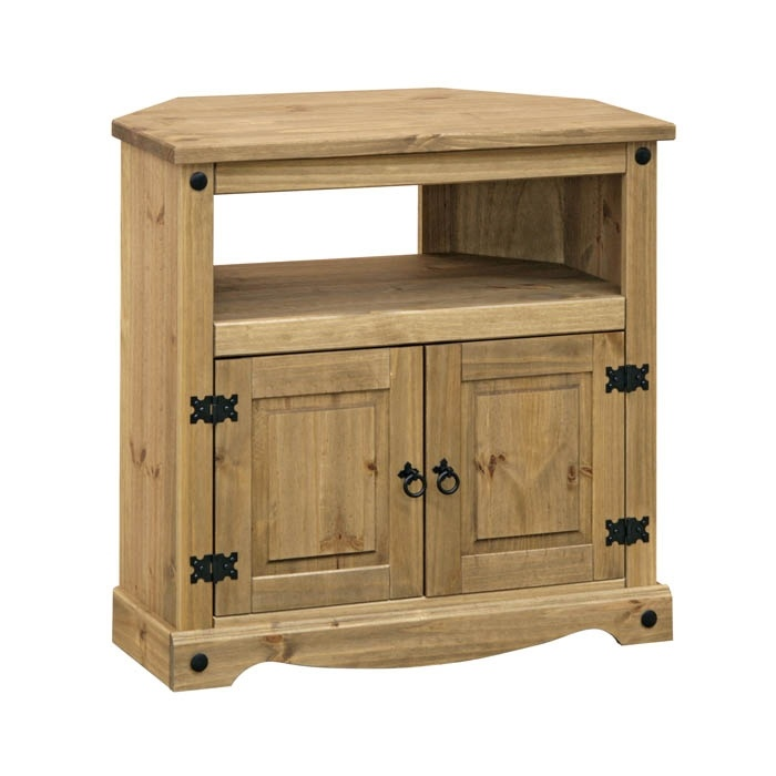 Corona Rustic Dark Wooden Corner TV Stand! Click To Buy!