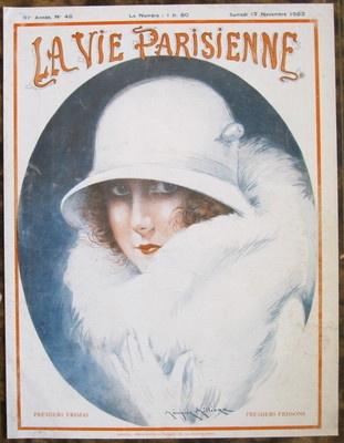 Milliere 1923 Vie Parisienne Print Art Deco Fur Coat Cloche Hat Flapper Girl | eBay
