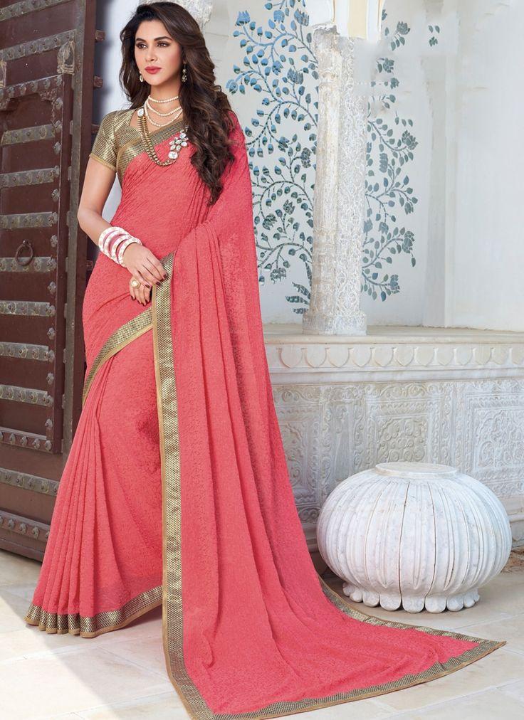 Shop Chicken Chiffon Pink Color Designer Saree Online