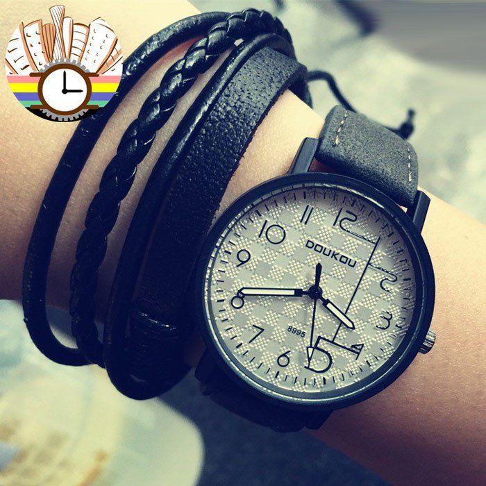 Unique Personality Dial Retro Leather Wrist watch