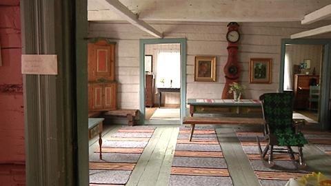 Swedish Clock, Nordic rag rugs, wood floors, low ceilings, wood furniture, antique style.