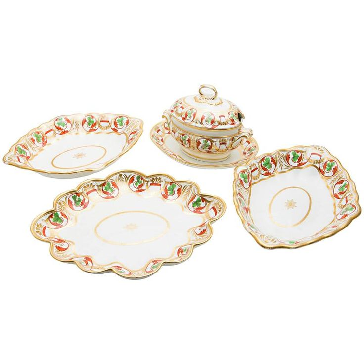 Set of Derby Dishes and Tureen | From a unique collection of antique and modern platters and serveware at https://www.1stdibs.com/furniture/dining-entertaining/platters-serveware/