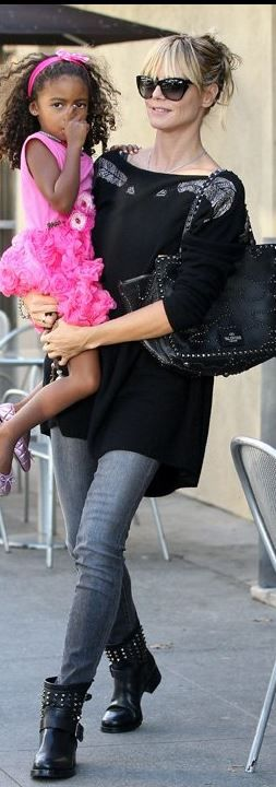 Who made  Heidi Klum's black cat sunglasses and studded handbag that she wore in Los Angeles?
