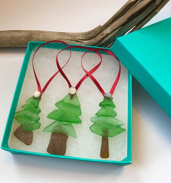 Set of 3 Sea Glass Christmas ornaments handcrafted from genuine sea glass in gift box perfect for giving