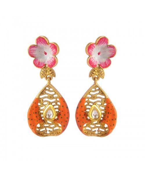 Women's Fashionable Kundan Polki Copper Earrings_Orange5