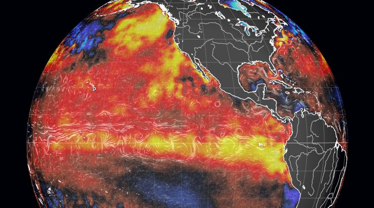 """El Niño intensifying. The present El Niño event, on the cusp of attaining """"strong"""" intensity, has a chance to become the most powerful on record.  The event — defined by the expanding, deepening pool of warmer-than-normal ocean water in the tropical Pacific — has steadily grown stronger since the spring. -The Washington Post"""