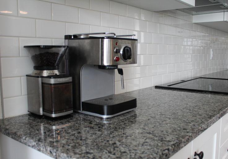 caledonia granite, subway tile backsplash, kitchen, cuisinart