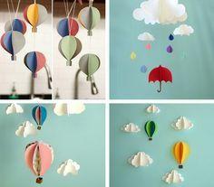 Love Décor: DIY| Móbile de Balões 3D http://lovedeccor.blogspot.com.br/2012/05/diy-mobile-de-baloes-3d.html