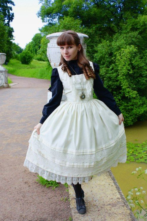 Lolita Fashion   Classic  Love, love, love this style! Wish I were young enough to wear a pinafore like this.