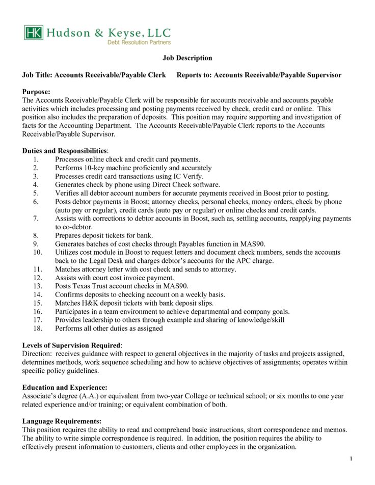 Resume Job Responsibilities Accounts Payable Responsibilities Resume