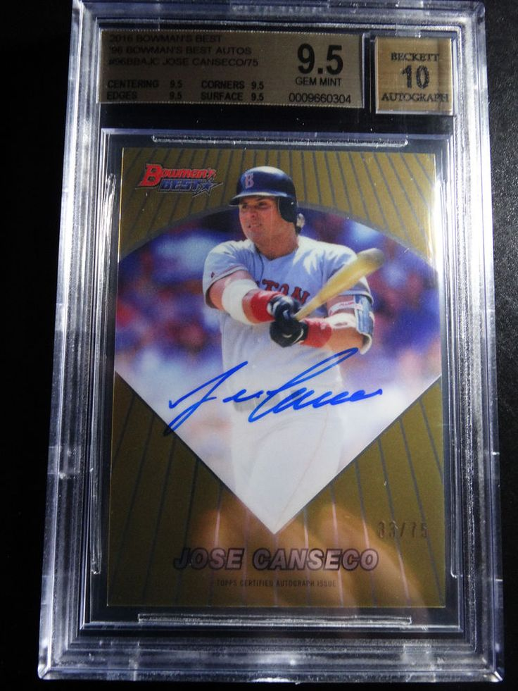 2016 Bowman's Best #96BBAJC Jose Canseco Boston Red Sox Auto Card 33/75 BGS 9.5 #BostonRedSox