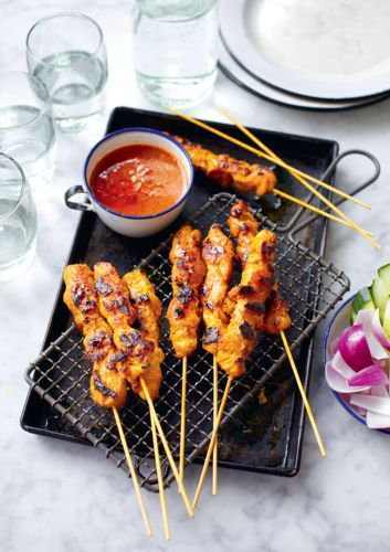 We love these delicious chicken satay skewers from Norman Musa's Amazing Malaysian – they're the perfect appetiser when served with peanut sauce, cucumber wedges, red onion slices and cubes of pressed rice. The marinade is wonderfully easy to make and gives the chicken a smoky caramelized flavour with a hint of lemongrass, cumin and turmeric. An ideal party dish and a fantastic weekend trea