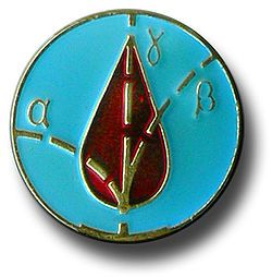 The central detail of the Liquidators' medal, with traces of alpha (α) and beta (β) particles and gamma (γ) rays over a drop of blood.