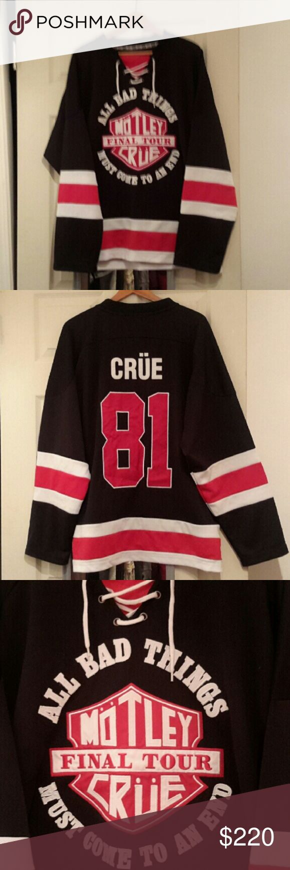 MOTLEY CRUE OFFICIAL HOODIE HOCKEY STYLE JERSEY L Official men's L NWOT  No trades Price firm!  Collector edition Shirts Sweatshirts & Hoodies