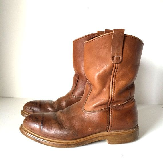Vintage RED WING Pecos Boots Cognac Brown Steel by pascalvintage