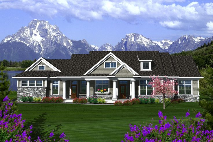 Ranch Style House Plan - 3 Beds 2.5 Baths 2164 Sq/Ft Plan #70-1135 Exterior - Front Elevation - Houseplans.com
