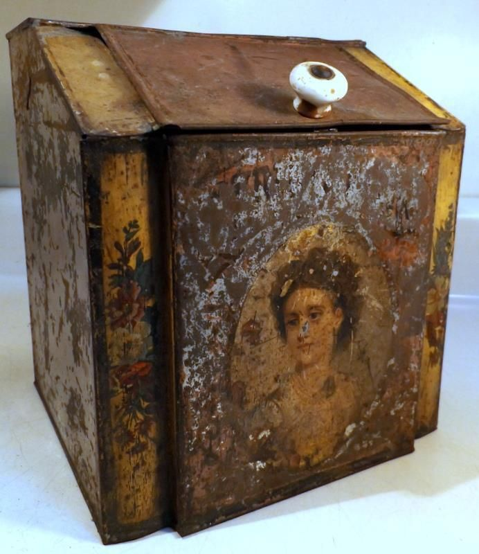 Antique Country Store Display Tin Spice Bin w Pretty Woman Image c1880s | eBay