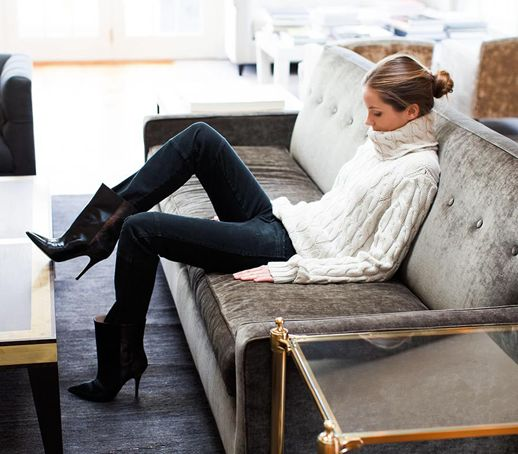 Classic and effortless in a white cable knit and heeled boots…