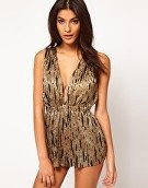 ASOS Metallic Playsuit with V Front
