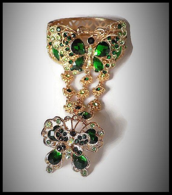Bracelet bague papillon strass verts, métal doré - bracelet bague bijou fantaisie strass - idée cadeau - femme - fille - costume vénitien.