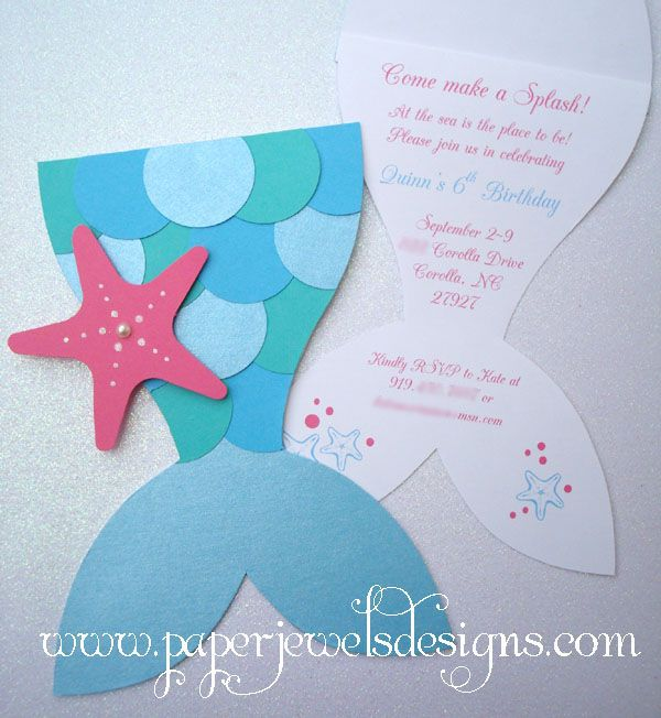 Kids Theme Parties - Mermaid invites