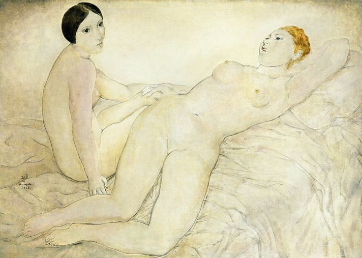 The Athenaeum - Two Friends (Youki and Mado) (Tsuguharu Foujita - No dates listed)