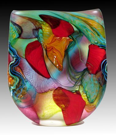 'Vinaceous Amazon' Blown Art-Glass Sculpture (2011 archives) by Noel Hart ♥≻★≺♥
