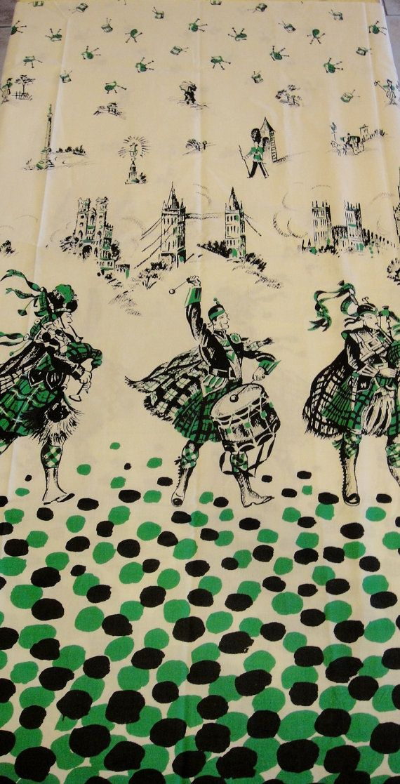 Scottish Themed Novelty Fabric Vintage By