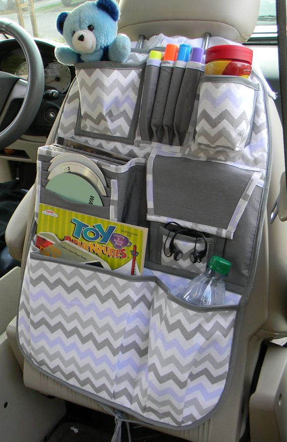 This car organizer is custom made and can be used by young children and teens alike. With pockets for CDs, books, magazines, pens and color crayons.