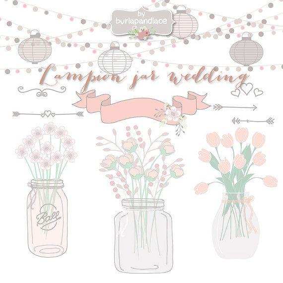 Mason Jar Hochzeitseinladung Clipart Lampion von 1burlapandlace