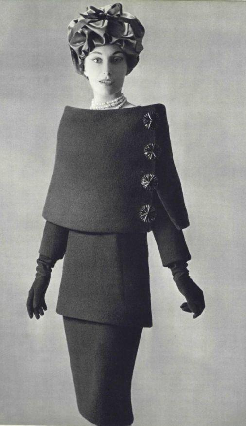 design of Balenciaga, the model worn strange pencil skirt and head scarf