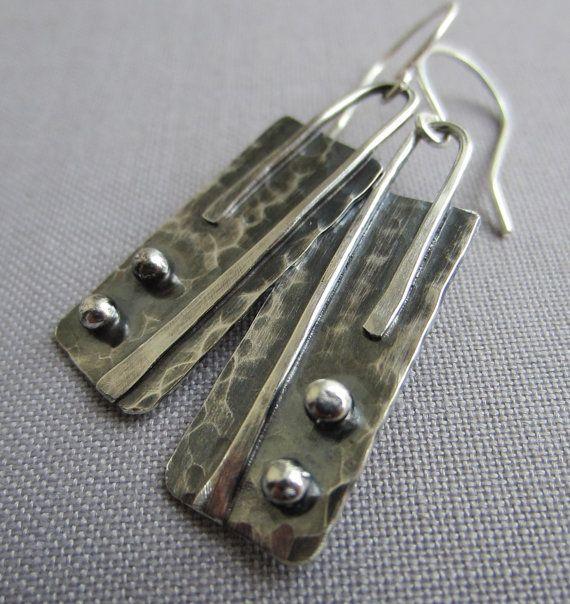 Texturized Silver Earrings/ Geometric Earrings/ by mese9 on Etsy